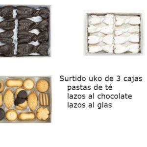 Surtido uko de 3 cajas (pastas de té, lazos al chocolate, lazos al glas)